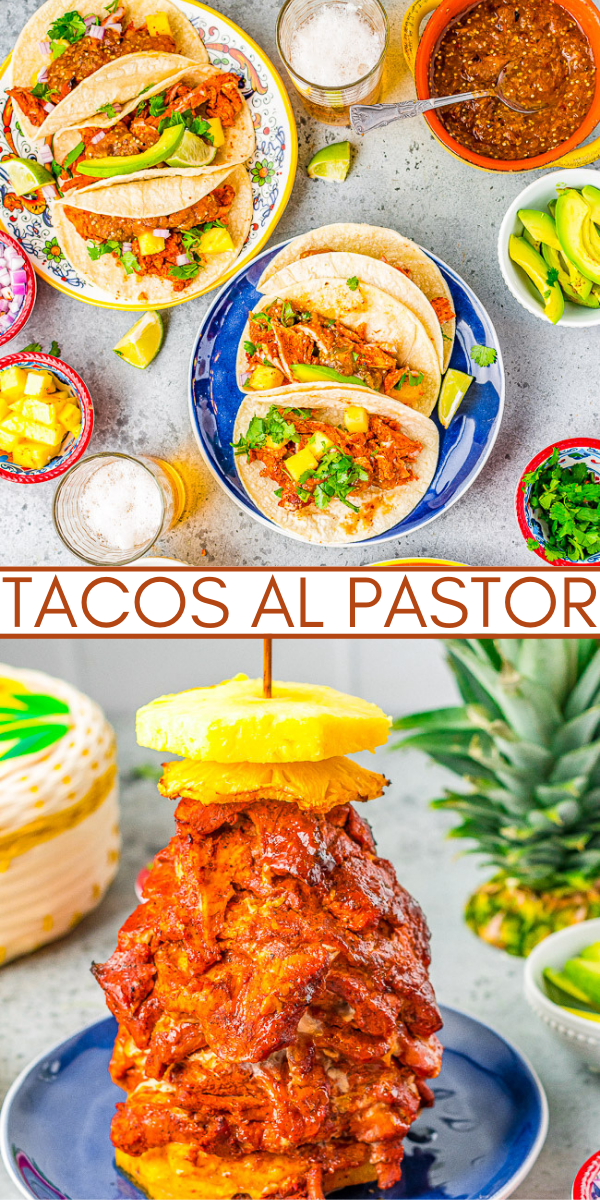Tacos Al Pastor – Learn to make this staple Mexican recipe that includes thinly sliced pieces of pork marinated in a tangy, sweet pineapple sauce AT HOME! Juicy, flavorful, tender pork served in tortillas with onions, cilantro, lime juice, and salsa! You'll want every night to be taco night!