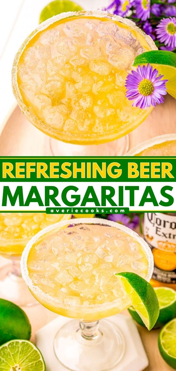 Beer Margaritas - Summer tastes better with a pitcher of these delightful and refreshing beer margaritas are made with Corona, tequila, triple sec, lime juice, agave, and a sugared (or salted) rim! Cheers to beer-garitas!