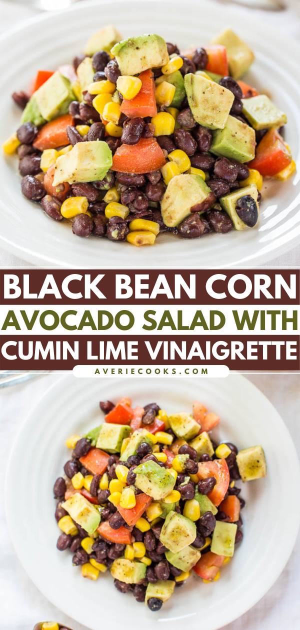 ThisBlack Bean Corn Avocado Saladis tossed with a tangy cumin lime vinaigrette. It's incredibly filling thanks to the beans and avocado, and can easily be packed for lunch.