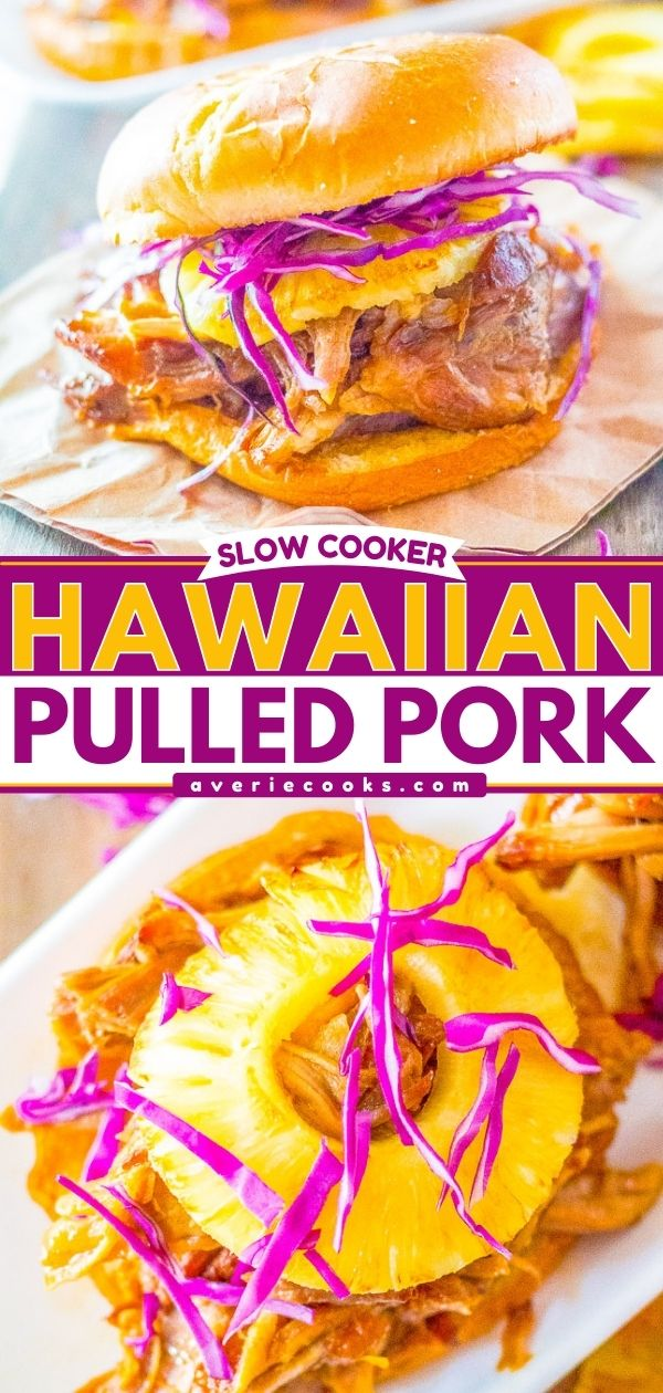 Slow Cooker Hawaiian Pulled Pork — Pork is slow cooked to perfection and has Hawaiian-inspired flavors from pineapple and teriyaki sauce! Sweet, tangy, tender, and juicy! It makes the best pulled pork sandwiches that everyone loves!