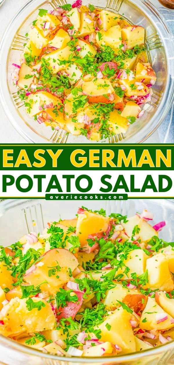 Warm German Potato Salad — A classic potato salad made with tender red potatoes, bacon, onions, and a tangy vinegar dressing! This no-mayo potato salad is a family favorite side dish that's perfect for parties, picnics, and potlucks!!