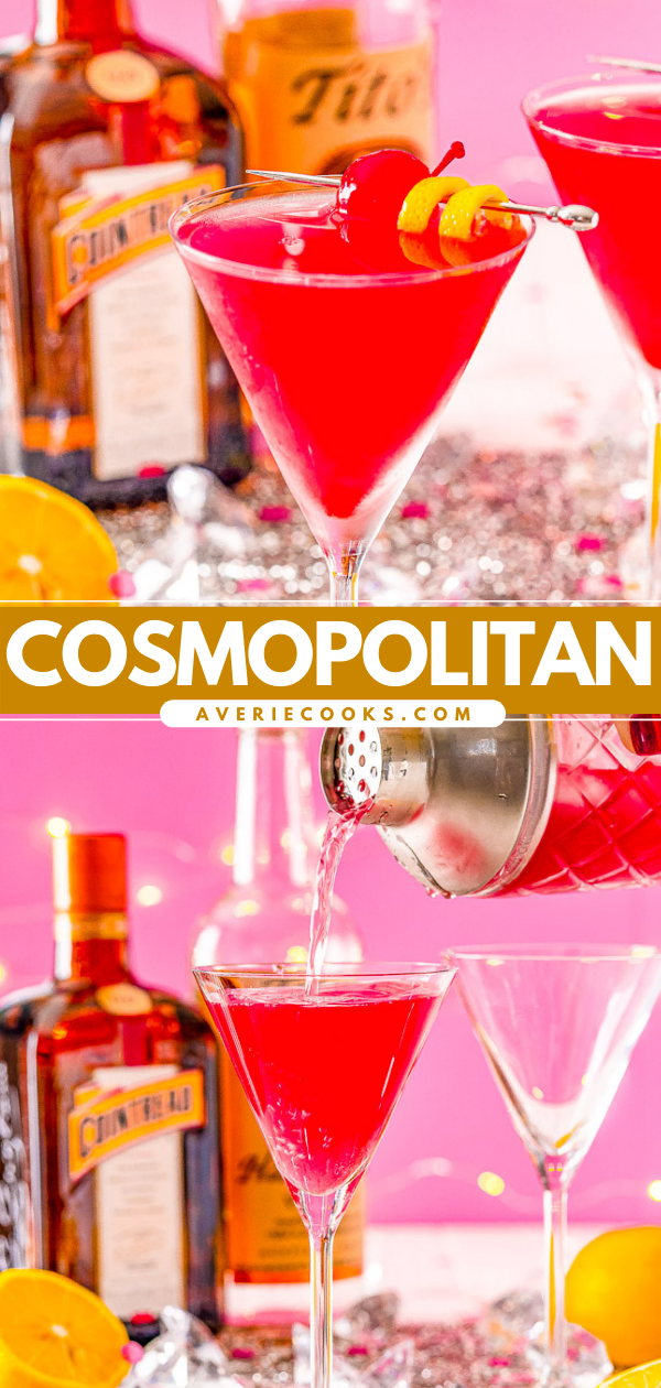 Cosmopolitan Cocktail — This classic Cosmopolitan recipe is made with vodka, orange liqueur, lemon juice, and cranberry juice. It's flirty and flavorful yet refined and simple. Tart cranberry juice blends with fresh lemon juice to smooth out the vodka and enhance the triple sec for a balance and refreshing cocktail perfect for sipping!