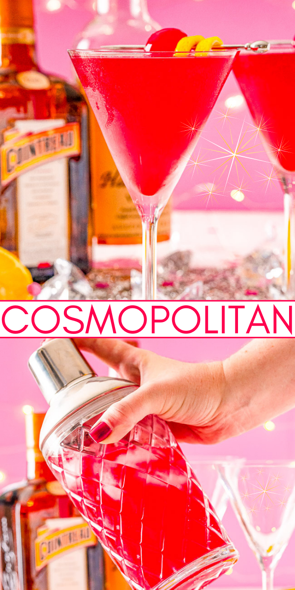 Cosmopolitan – This classic cocktail is made with vodka, orange liqueur, lemon juice, and cranberry juice. It's flirty and flavorful yet refined and simple. Tart cranberry juice blends with fresh lemon juice to smooth out the vodka and enhance the triple sec for a balance and refreshing cocktail perfect for sipping!