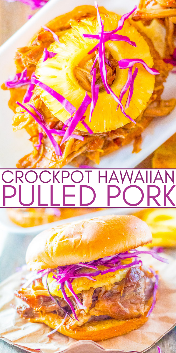 Slow Cooker Hawaiian Pulled Pork - Pork is slow cooked to perfection and has Hawaiian-inspired flavors from pineapple and teriyaki sauce! Sweet, tangy, tender, and juicy! It makes the best pulled pork sandwiches that everyone loves!