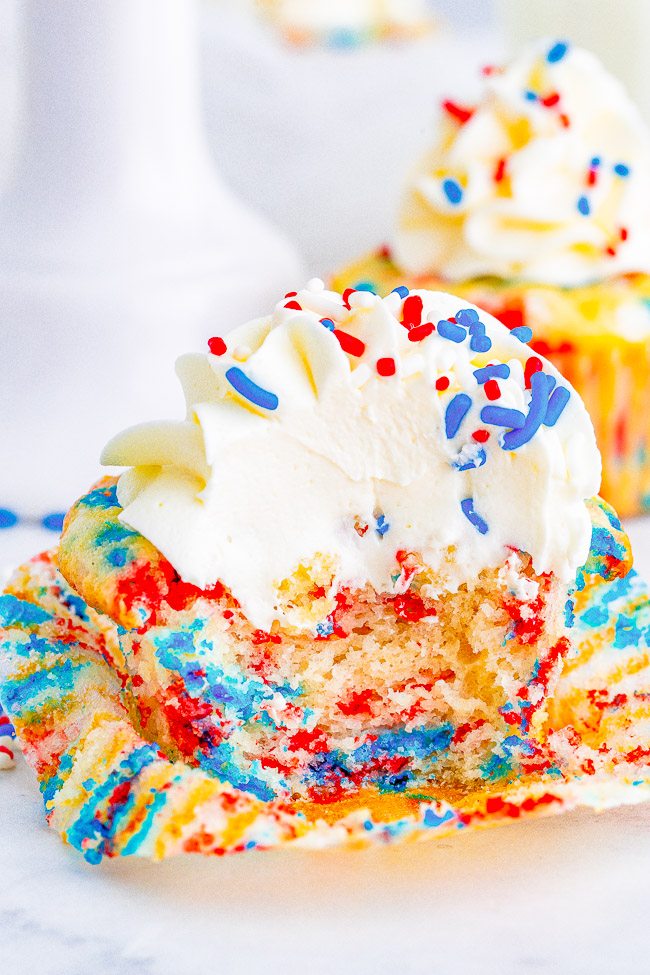 Red, White, and Blue Patriotic Cupcakes - Perfect for your Fourth of July, Labor Day, or Memorial Day festivities! These EASY NO-MIXER festive cupcakes topped with buttercream frosting are moist, springy, fluffy, and sure to be a crowd FAVORITE!