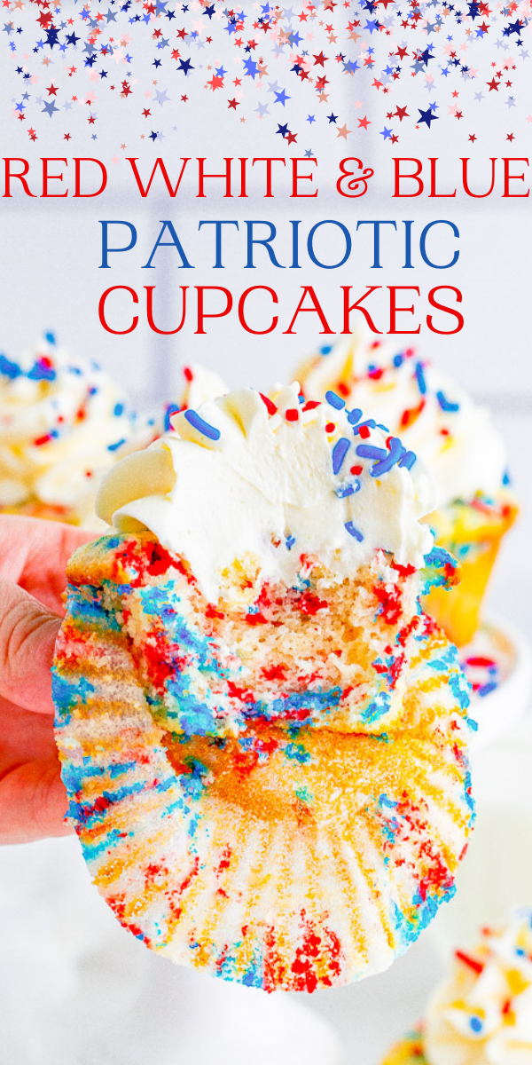 Red, White, and Blue Patriotic Cupcakes – Perfect for your Fourth of July, Labor Day, or Memorial Day festivities! These EASY NO-MIXER festive cupcakes topped with buttercream frosting are moist, springy, fluffy, and sure to be a crowd FAVORITE!