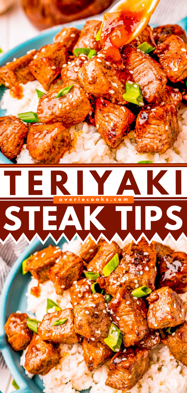 Teriyaki Steak Tips - Tri-tip steak tips are cooked to perfection and then topped with a thick and sticky homemade pineapple teriyaki sauce! A family favorite that everyone will love and is FAST and EASY to make!
