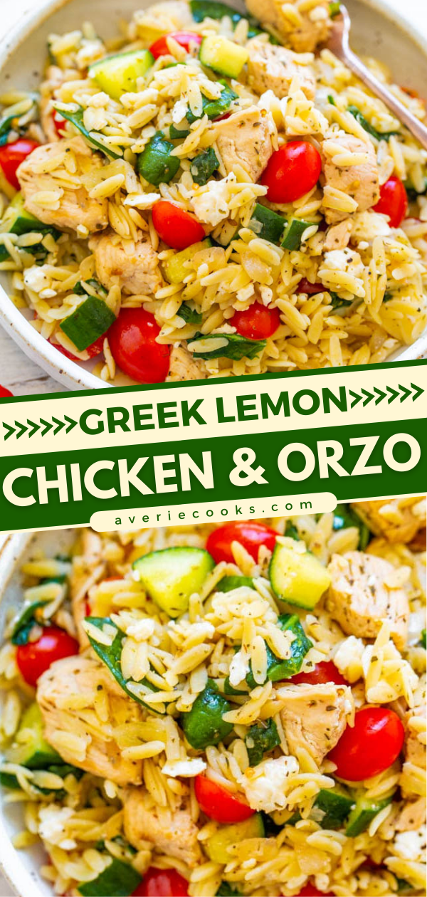 Greek Lemon Chicken and Orzo — EASY, ready in 25 minutes, and feeds a crowd!! Juicy lemon chicken with orzo, fresh spinach, cucumbers, and tomatoes make this a dinnertime WINNER! Great for parties, picnics, and potlucks!!