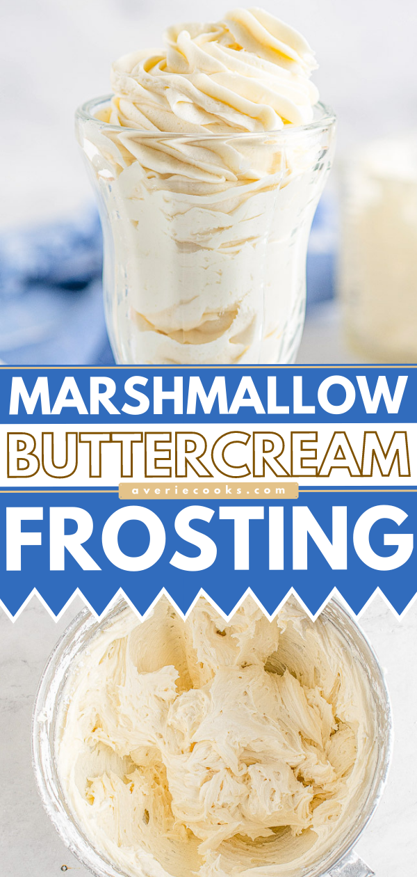 Marshmallow Buttercream Frosting — A five-minute decadent frosting recipe made with just five ingredients! Rich, sweet, smooth, perfect for piping or just spreading on your favorite cake, cupcakes, brownies, and more! So EASY yet so good!
