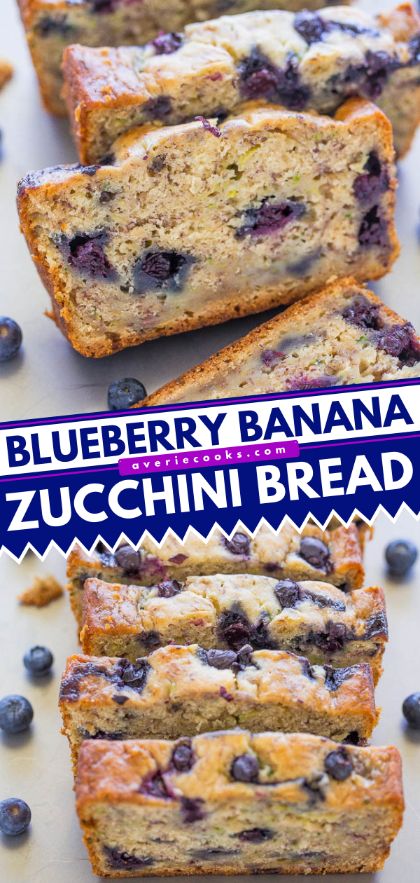 Blueberry Banana Zucchini Bread— This is an easy zucchini bread recipe that's packed with bananas and juicy blueberries. I guarantee this will be your new favorite quick bread!