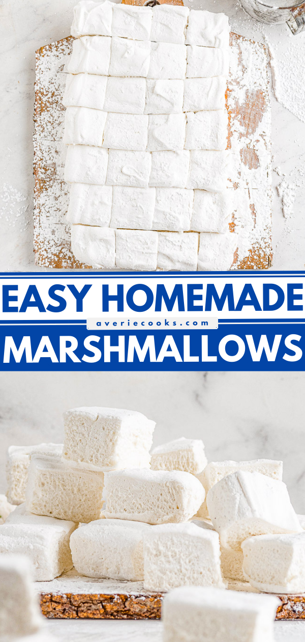 Homemade Marshmallows — Easier than you think to make and the results are so WORTH IT! Chewy, sticky, bouncy, soft yet firm, and they blow store bought marshmallows away! Learn how to make marshmallows at home with my straightforward and simple recipe!
