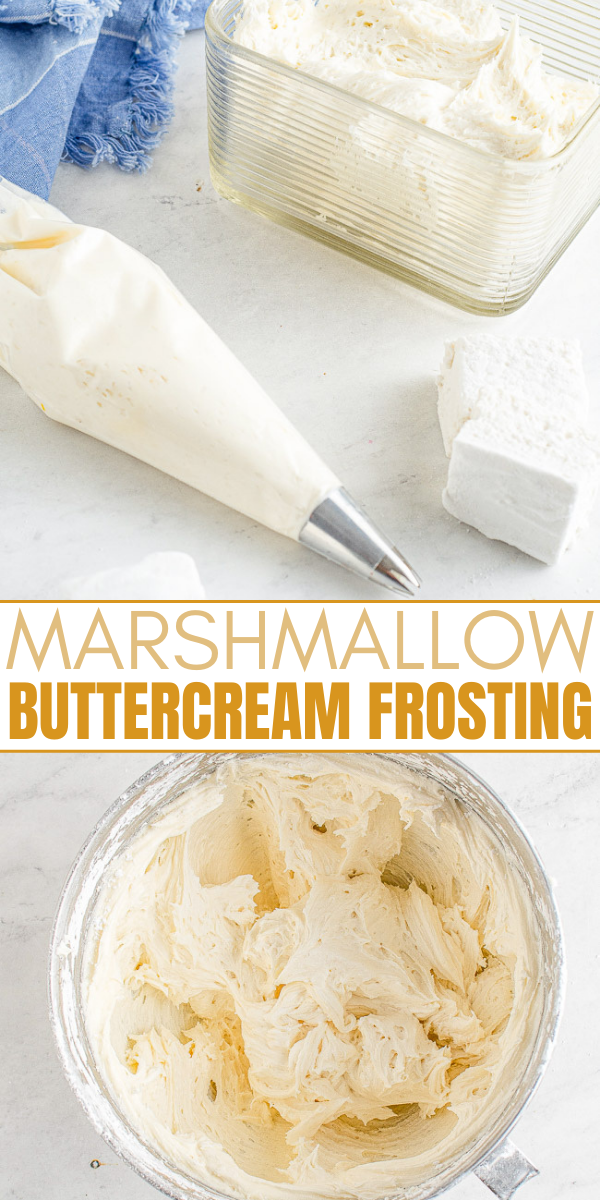 Marshmallow Buttercream Frosting - A five-minute decadent frosting recipe made with just five ingredients! Rich, sweet, smooth, perfect for piping or just spreading on your favorite cake, cupcakes, brownies, and more! So EASY yet so good!