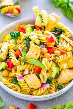 Mediterranean Lemon Chicken Pasta Salad