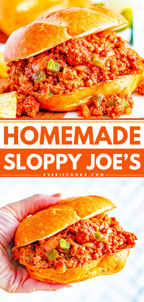 Homemade Sloppy Joe's — The BEST and most flavorful homemade Sloppy Joe's that the whole family will ADORE! So EASY, ready in 20 minutes, and can be made with either ground beef or ground turkey to keep them HEALTHIER! Perfect for get-togethers, parties, or a fast family dinner on busy weeknights!