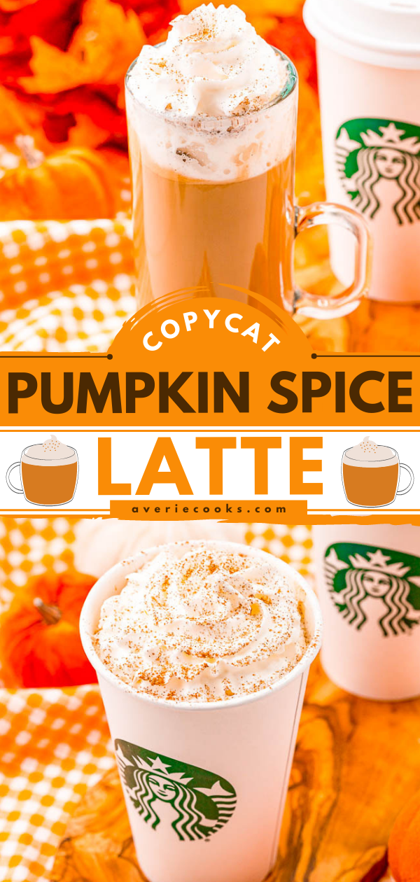 Copycat Pumpkin Spice Latte - My Copycat Starbucks Pumpkin Spice Latte recipe is spot on! Skip going out and the lines, save money, and start making your own homemade pumpkin spice lattes! You're going to love how similar this tastes to the real thing!