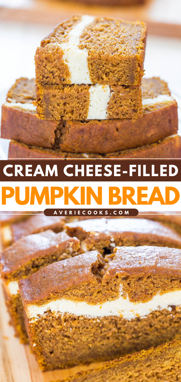 Pumpkin Cream Cheese Bread— This is without a doubt the BEST pumpkin bread recipe! This pumpkin cream cheese bread tastes like it has cheesecake baked into the middle. You'll definitely want a second slice!