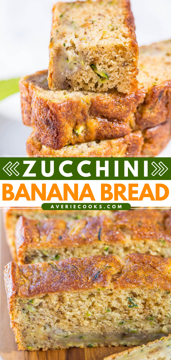 Zucchini Banana Bread—This zucchini bananabread is sosoft, tender, uber-moist, dense enough to be satisfying, but still light! It'sjust sweet enough to taste like a dessert and not like you're eating vegetables. It really is the BEST zucchinibread recipe!!