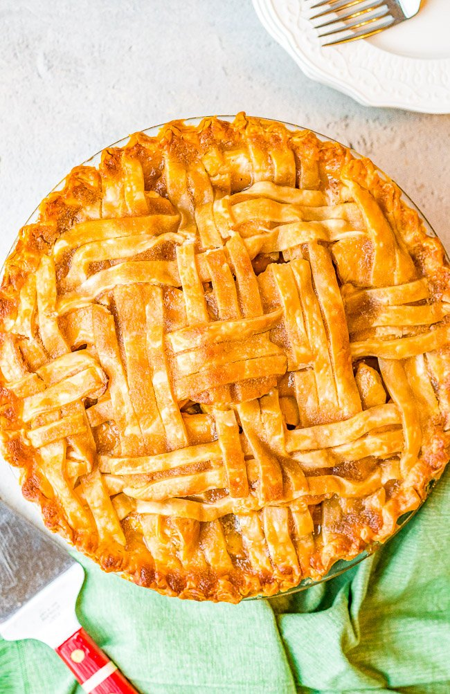 Best Homemade Apple Pie (From Scratch!) — This fabulous apple pie is a specialty of my grandma's. The sauce for the apples is slowly poured over the lattice crust until it fills the shell.