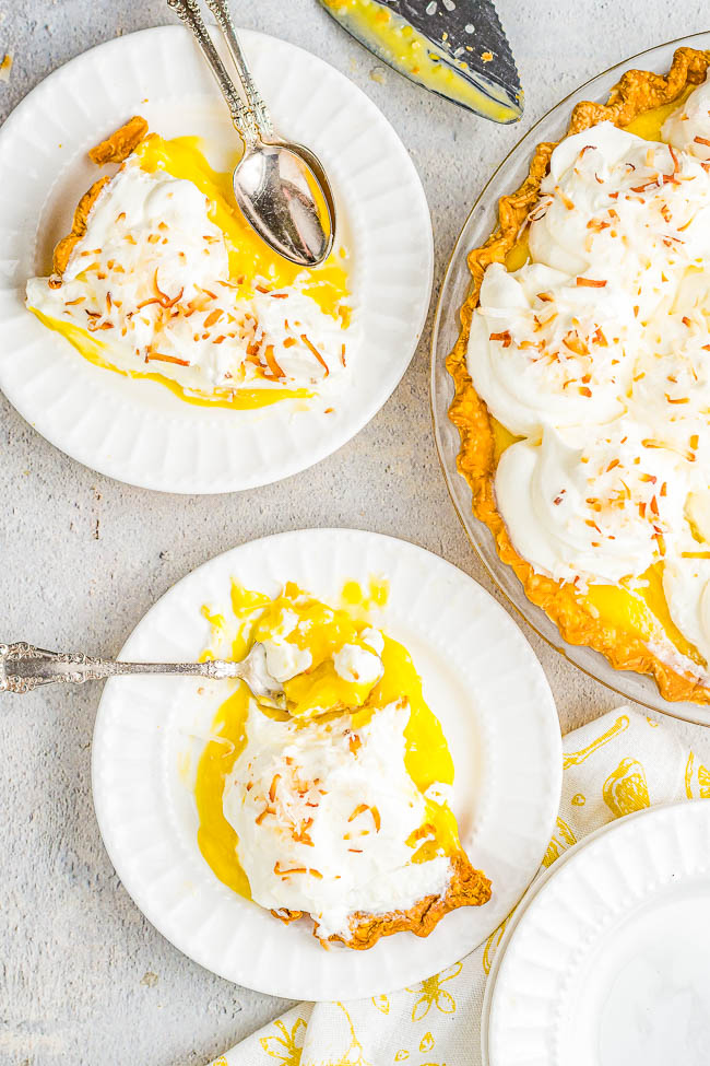 Coconut Cream Pie – Homemade coconut cream pie that will become a family FAVORITE! There's a luscious coconut filling, a creamy top, and this EASY from-scratch pie is loaded with coconut flavor because coconut is used four different ways! Use store bought crust to save time!
