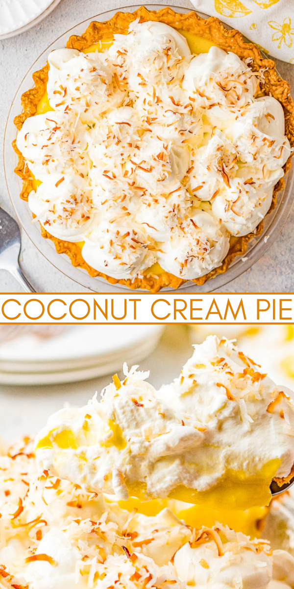 Coconut Cream Pie - Homemade coconut cream pie that will become a family FAVORITE! There's a luscious coconut filling, a creamy top, and this EASY from-scratch pie is loaded with coconut flavor because coconut is used four different ways! Use store bought crust to save time!
