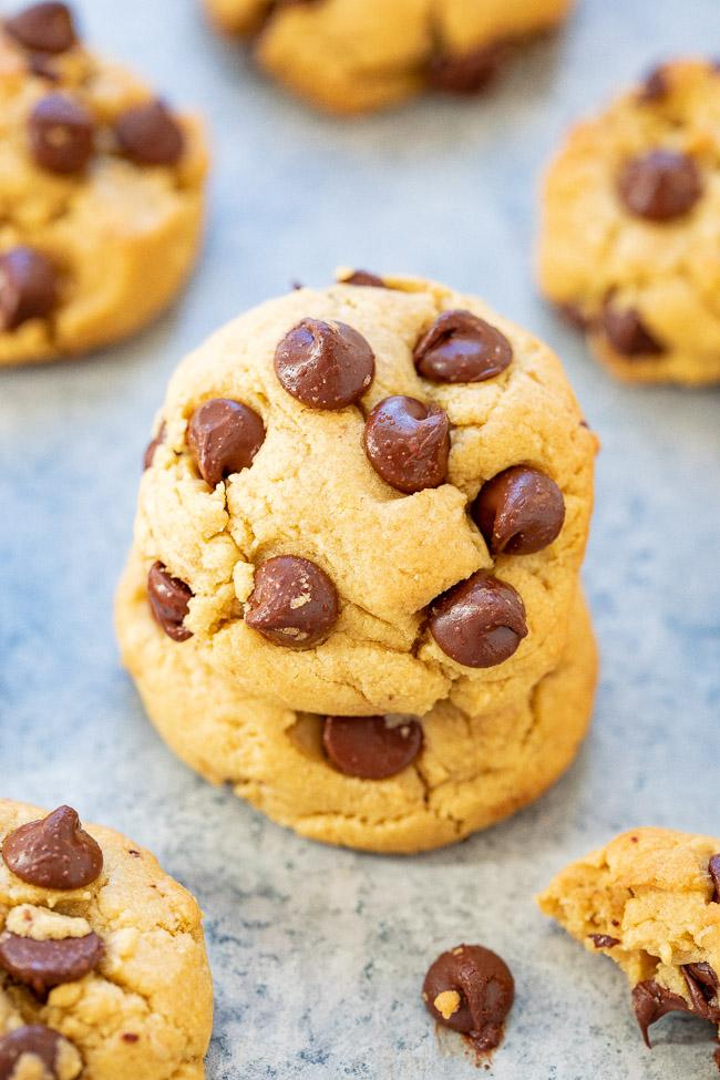 Olive Oil Chocolate Chip Cookies - You won't miss the butter in these olive oil chocolate chip cookies!! They're soft and chewy, loaded with chocolate, and have a unique flavor from the olive oil but it's not overpowering! If you're looking for a twist on classic chocolate chip cookies, try these!