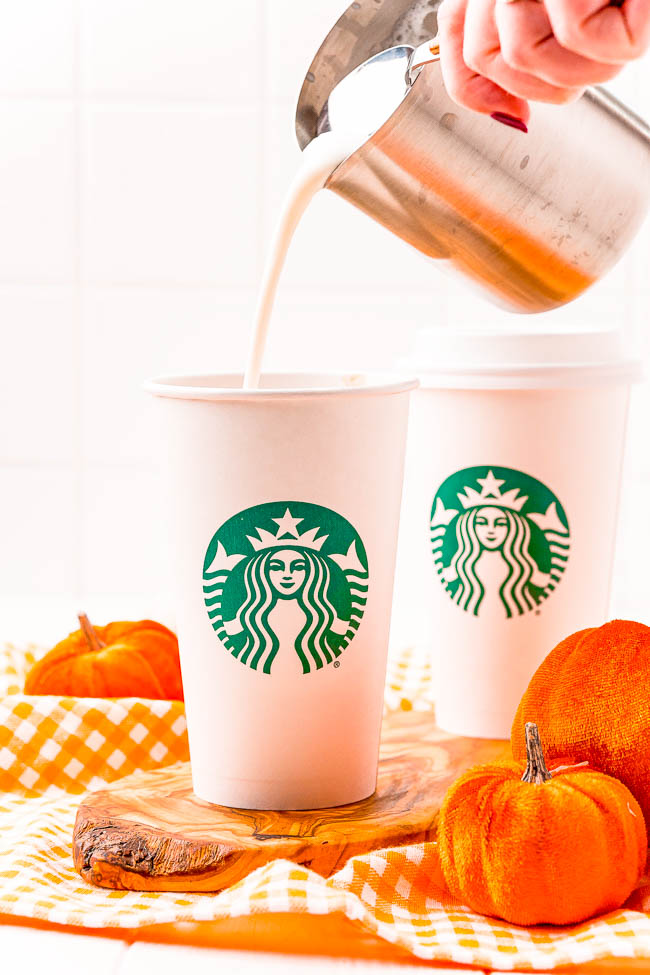 Copycat Pumpkin Spice Latte – My Copycat Starbucks Pumpkin Spice Latte recipe is spot on! Skip going out and the lines, save money, and start making your own homemade pumpkin spice lattes! You're going to love how similar this tastes to the real thing!
