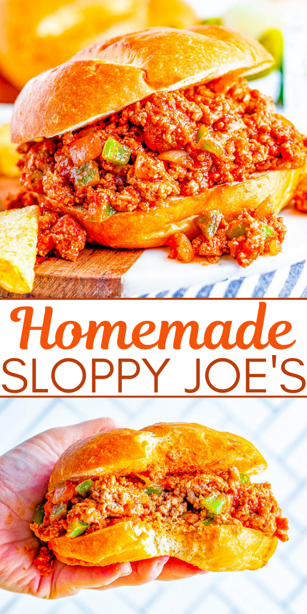 Homemade Sloppy Joe's - The BEST and most flavorful Sloppy Joe's that the whole family will ADORE! So EASY, ready in 20 minutes, and can be made with either ground beef or ground turkey to keep them HEALTHIER! Perfect for get-togethers, parties, or a fast family dinner on busy weeknights!