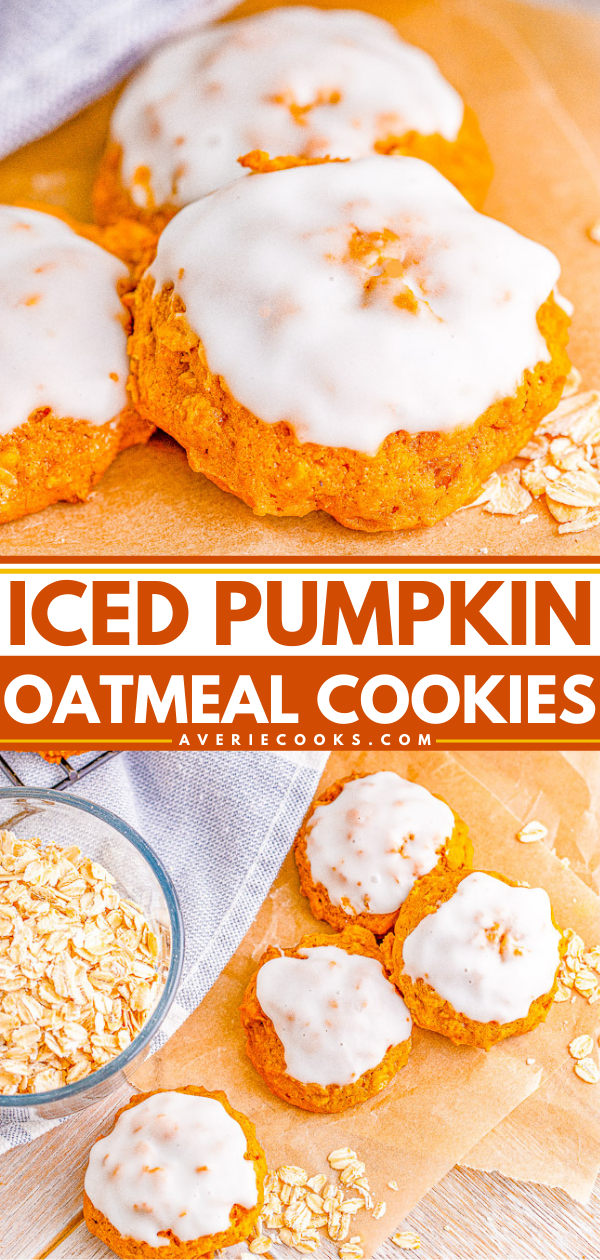 Iced Pumpkin Oatmeal Cookies — Soft and pillowy pumpkin cookies that are chock full of pumpkin spice and everything nice! The icing takes these cookies over the top. An EASY pumpkin oatmeal cookie recipe that does NOT require any dough chilling, making these a FAST treat to whip up!