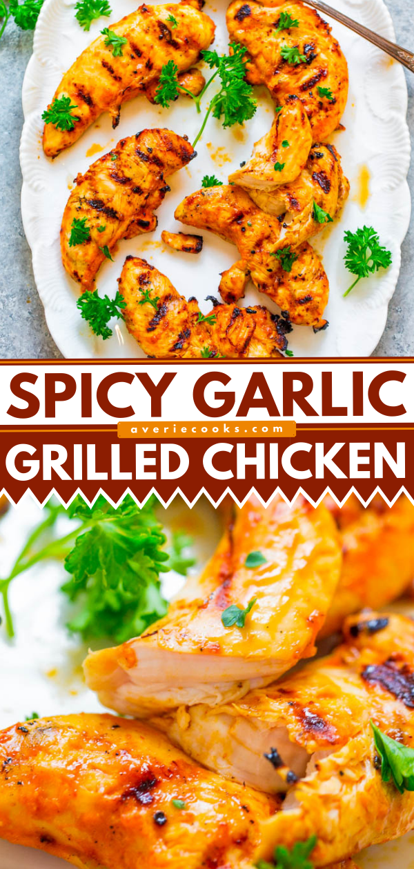 Grilled Spicy Garlic Chicken — An EASY homemade marinade made with everyday ingredients that produces super FLAVORFUL, juicy chicken!! If you're looking for a NEW marinade to jazz up grilled chicken, this is the one!!