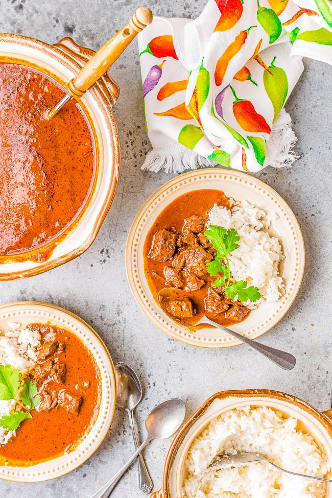 Instant Pot Chile Colorado - Tender chunks of beef simmered in a rich and flavorful sauce made from red chiles is a family favorite comfort food dinner! Made in an Instant Pot to save time although you can make it on the stove or slow cooker, too. Calling all protein lovers, this hearty Mexican-inspired dish is calling your name!