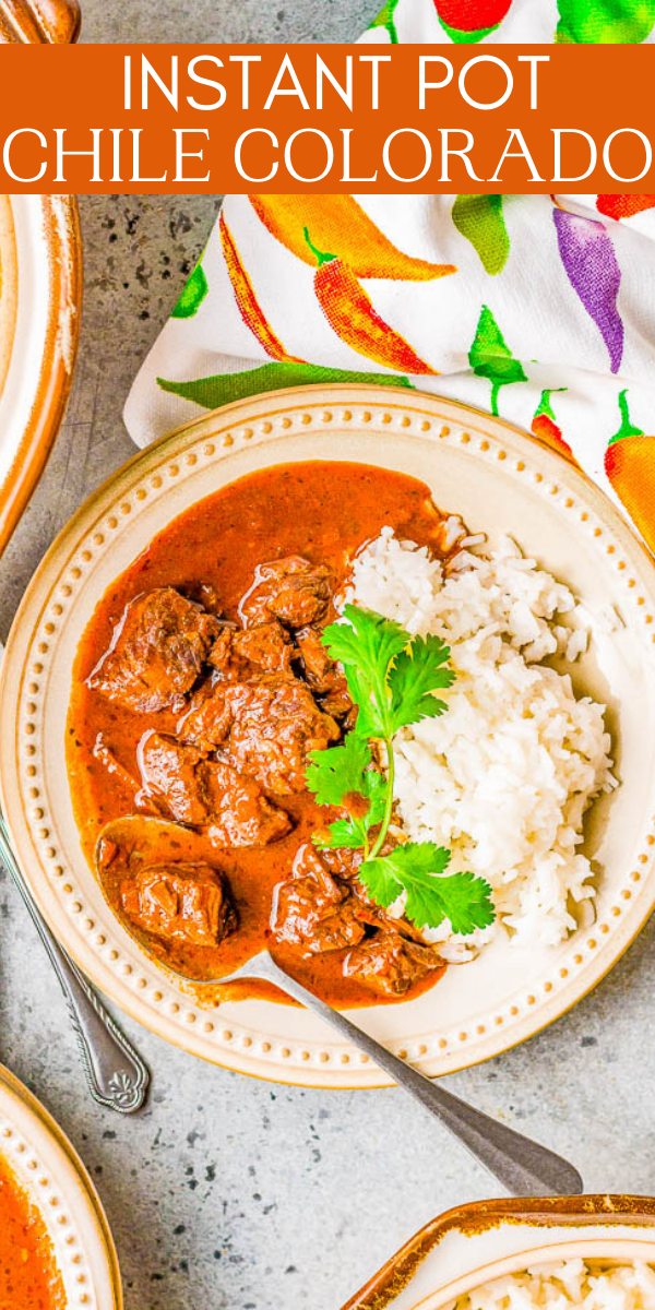 Instant Pot Chile Colorado - Tender chunks of beef simmered in a rich and flavorful sauce made from red chiles is a family favorite comfort food dinner! Made in an Instant Pot to save time although you can make it on the stove or slow cooker. Calling all protein lovers, this hearty Mexican-inspired dish is calling your name!
