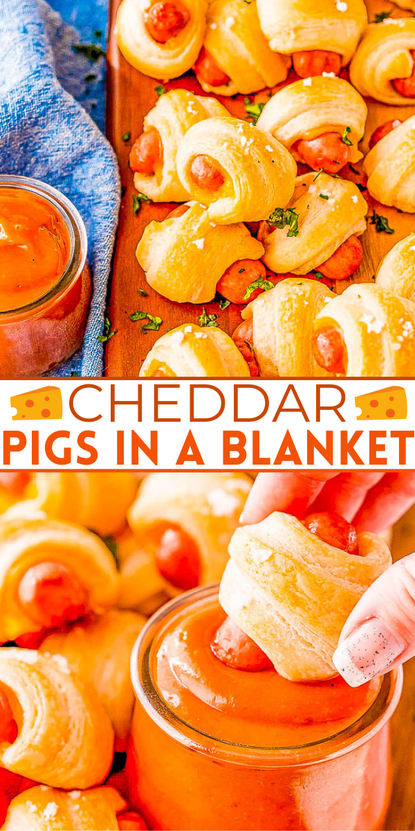 Cheddar Pigs In A Blanket - Sliced cheddar cheese and flaked salt takes this classic game day recipe and turns up the flavor! A FAST and EASY appetizer for holiday parties, get-togethers, or events! Along with the easy whisk-together dipping sauce, I promise you there won't be any left over!