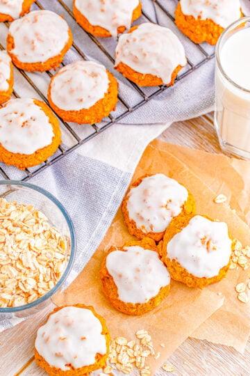 Iced Pumpkin Oatmeal Cookies