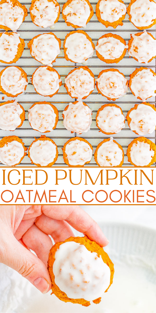Iced Pumpkin Oatmeal Cookies - Soft and pillowy pumpkin cookies that are chock full of pumpkin spice and everything nice! The icing takes these cookies over the top. An EASY pumpkin oatmeal cookie recipe that does NOT require any dough chilling, making these a FAST treat to whip up!