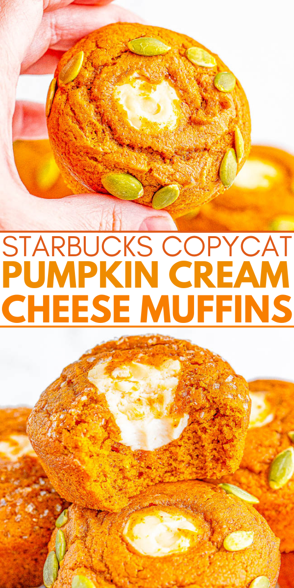 Starbucks Copycat Pumpkin Cream Cheese Muffins - Easy recipe for copycat pumpkin cream cheese muffins that are even BETTER than Starbucks! Super soft, moist, brimming with pumpkin spice flavor, and filled with tangy-sweet cream cheese! You are going to LOVE being able to replicate the coffee shop fall favorite at home in no time!