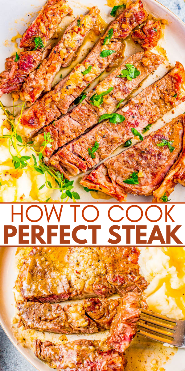 Perfect Steak - Learn how to cook the perfect steak, every time! Which cut and grade of meat to choose, what temperature, and how long to cook it. Plus, there are all the TIPS and TRICKS you need to know are included so you can make the BEST steak at home to rival a fancy steakhouse every single time!