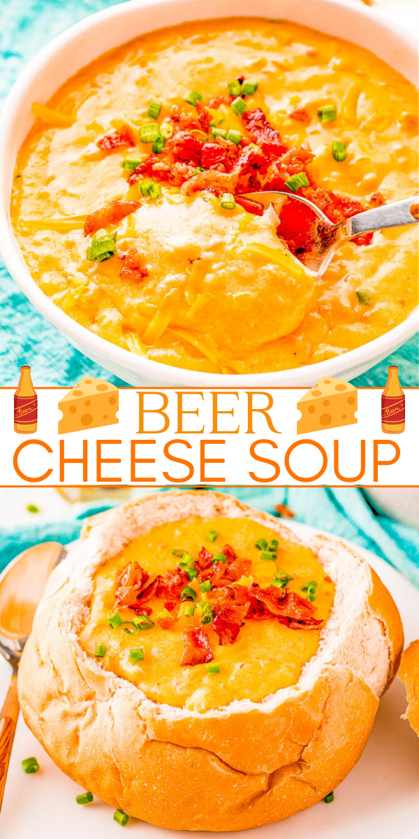 Beer Cheese Soup - The BEST recipe for decadent beer cheese soup that's loaded with flavor, including two different types of cheeses! A comfort food family favorite soup that's perfect for chilly weather. You can even make it on busy weeknights because it's a one-pot recipe that's ready in 30 minutes!