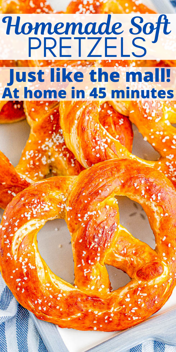 Homemade Soft Pretzels - These jumbo pretzels are soft, chewy, and just like the IRRESISTIBLE ones at your local mall's food court! Skip the mall and make these at home in ONE HOUR with this EASY to follow recipe and step-by-step photos! Whether you want to sprinkle them with coarse salt or cinnamon-sugar, these carby delights will be an automatic family FAVORITE!